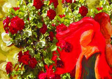 14-Lidia Borella . Coppia nel Roseto-2014.elaborazione pittorico fotografica