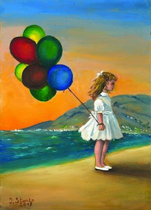 21-Ivana Storto-Palloncini in riva al mare - olio su cartone pressato