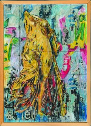 29-Renato Tagliabue - I segni del tempo- acrilici, pastelli,grafite e penna biro su elaborazioni digirtali su tessere carta di amalfi incollatesu tavola(2)
